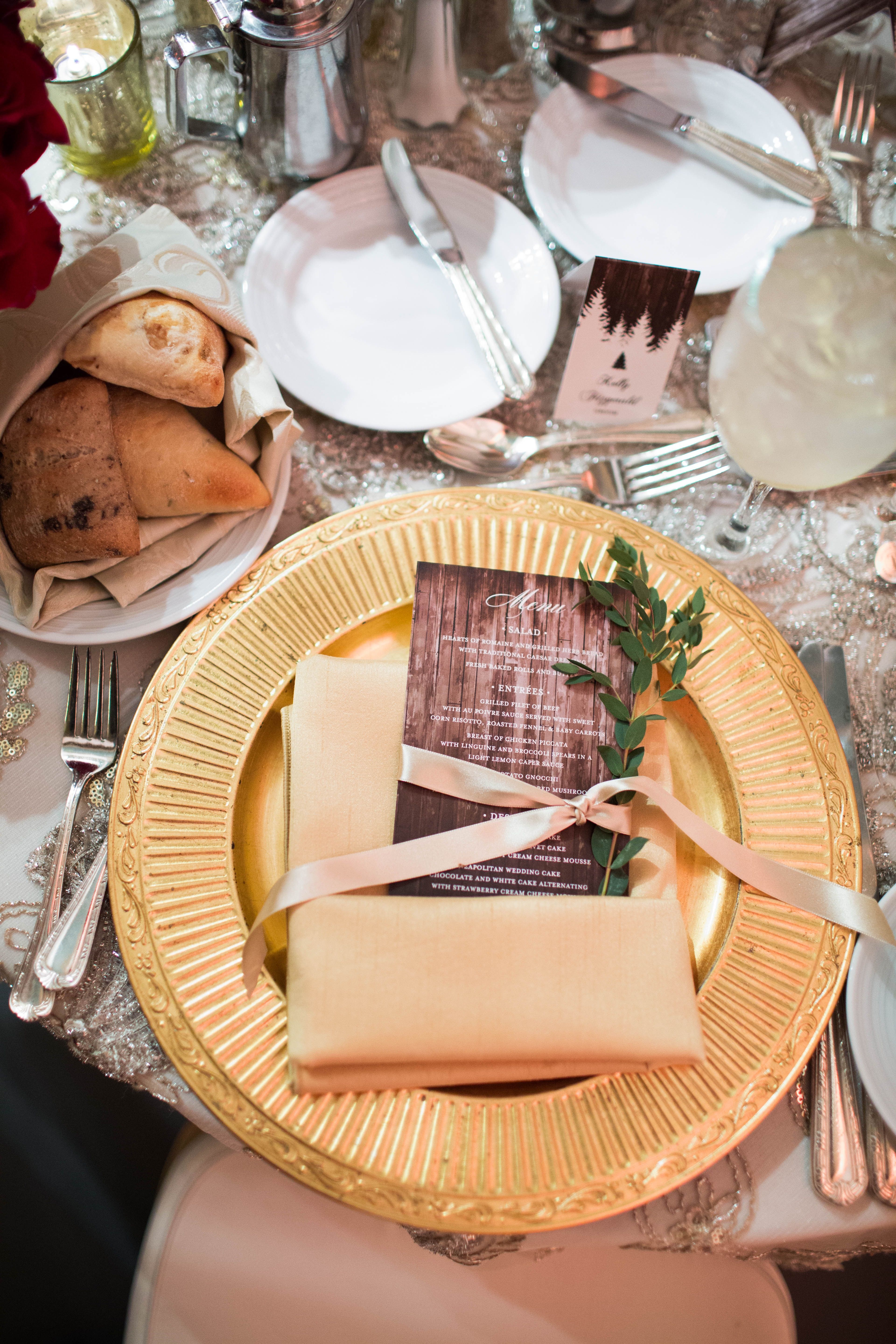 Menu Card Gold Charger Sprigs of