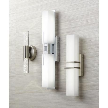 "Bathroom Lighting Sconces Chrome possini euro midtown 23 1/2"" wide chrome led bath light - style"