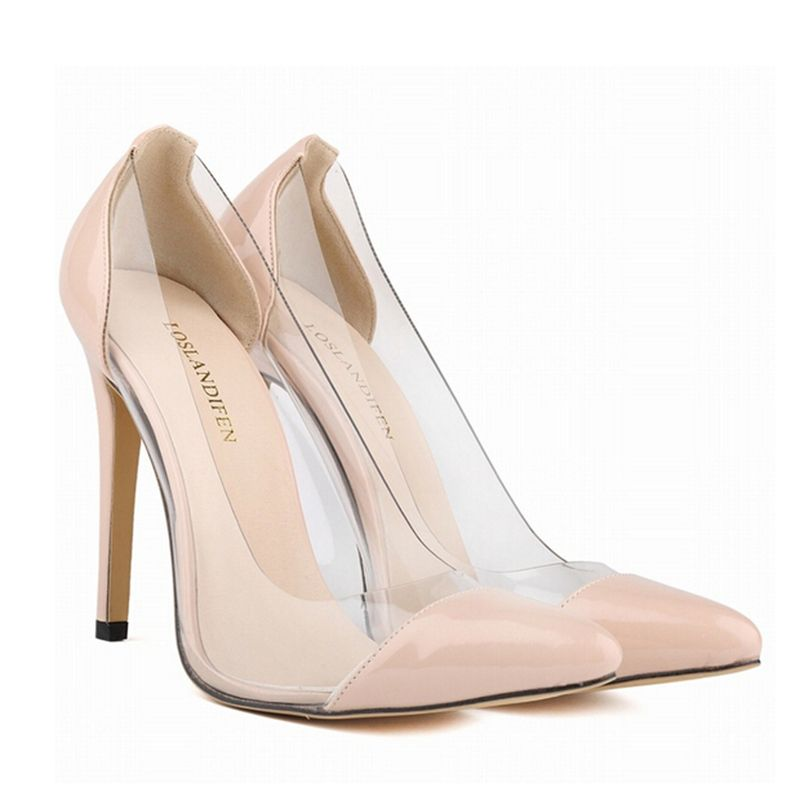 Buy 2015 Spring Europe Style Transparent Sides Pointed Toe High Heeled  Pumps Women Thin Heel Shallow Mouth Many Colors Shoes in Pumps on AliExpress
