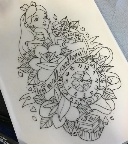 Alice In Wonderland Tattoo Disney Tattoos Alice And Wonderland Tattoos Wonderland Tattoo