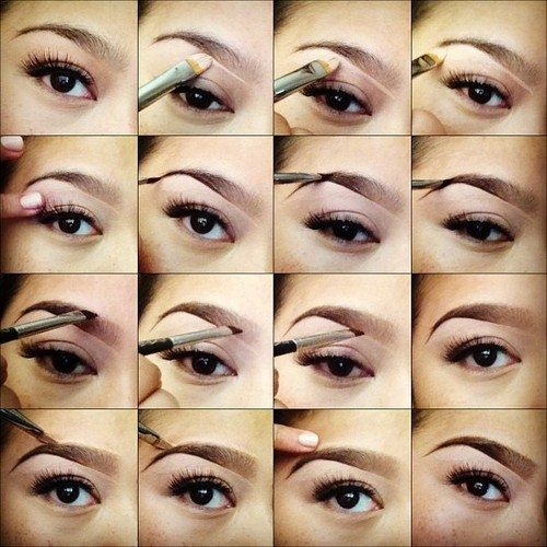 Step by step eye makeup. Eyebrows shaping and painting tutorial