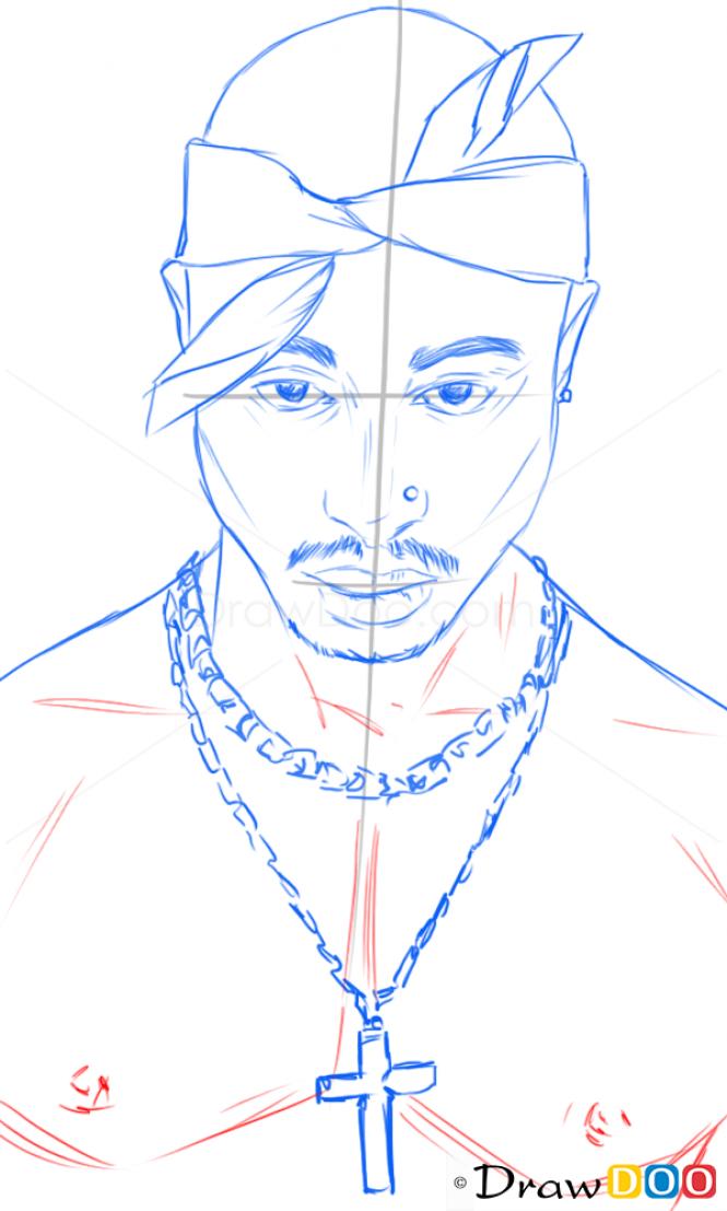 How To Draw Tupac Shakur Famous Singers How To Draw Drawing Ideas Draw Something Drawing Tutorials Portal Tupac Artwork Tupac Art Rapper Art