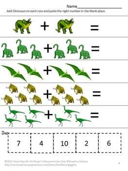 dinosaurs kindergarten math centers counting addition and subtraction worksheets worksheets. Black Bedroom Furniture Sets. Home Design Ideas