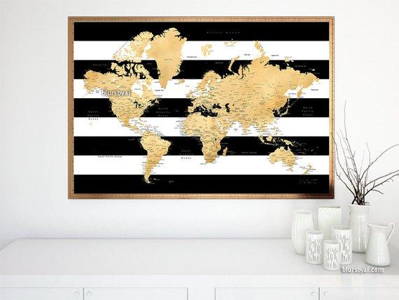 Gold world map printable art 36x24 printable world map with cities gold world map printable art 36x24 printable world map with cities black and gumiabroncs Image collections