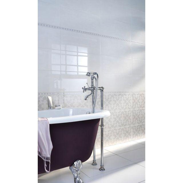 Carrelage mural blanc pergamon 25 x 60 cm castorama for Carrelage metro blanc castorama