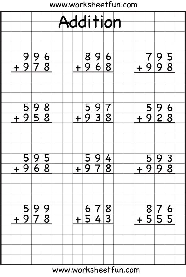 Printable Worksheets math for year 4 worksheets : addition with regrouping worksheets...I LOVE that they are on grid ...