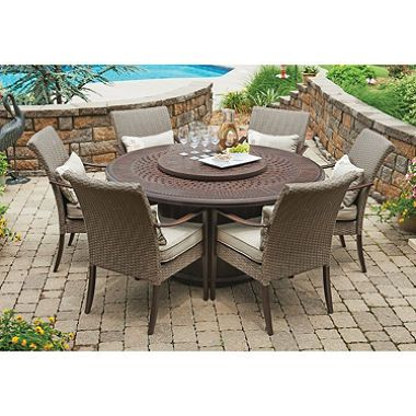 Sunjoy Fairbanks 8 Piece Dining Set With LP Fire Table