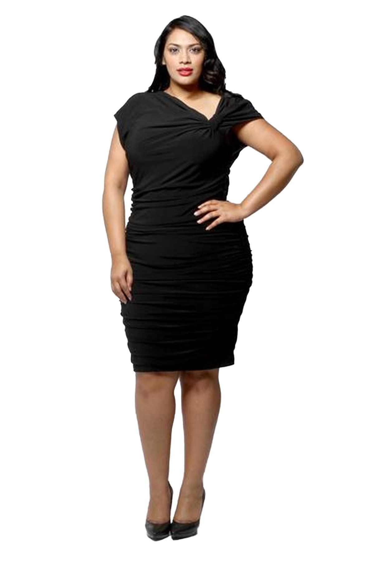 Knot shoulder dress missy and plus sizes available