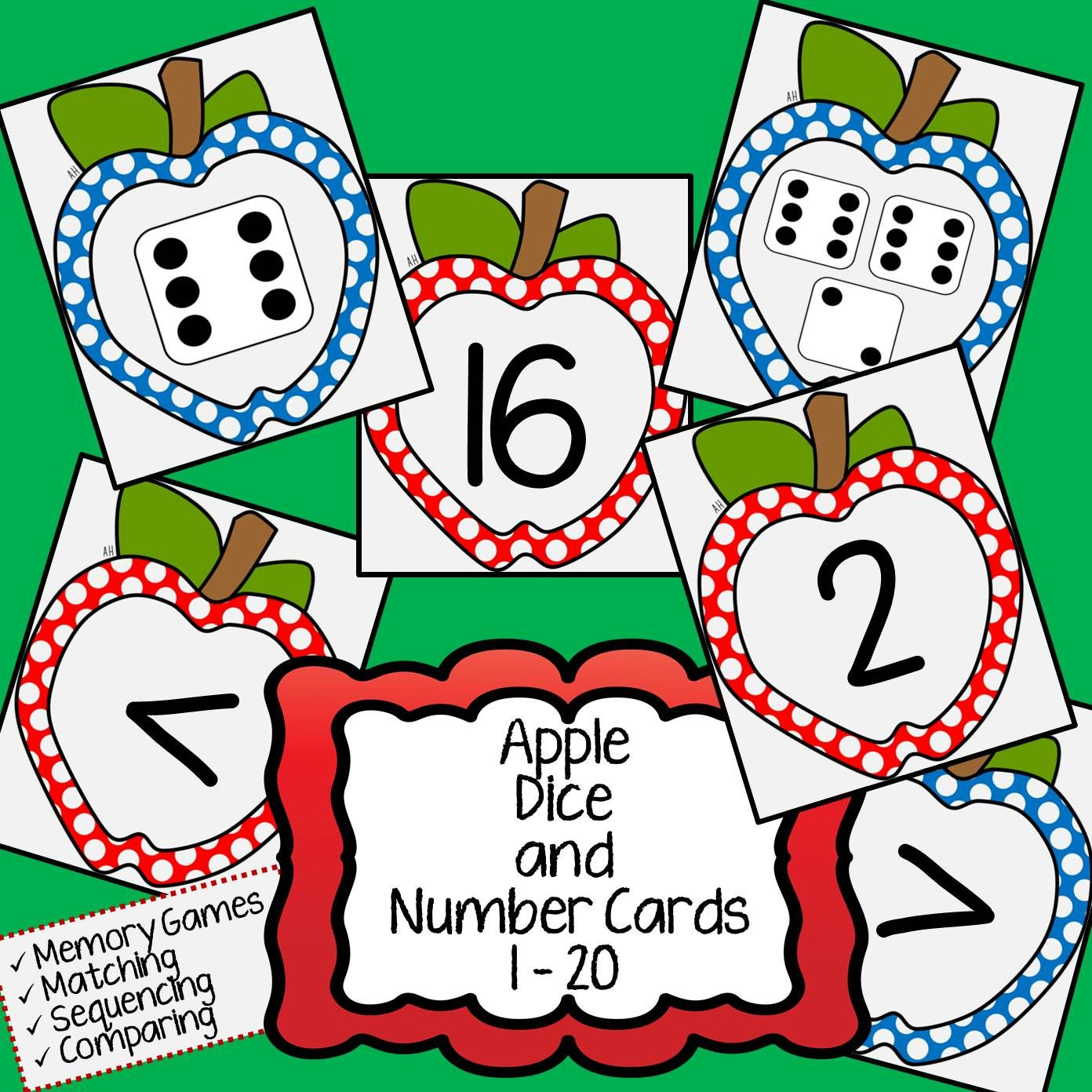 Apple Math Number And Dice Cards For Matching Adding