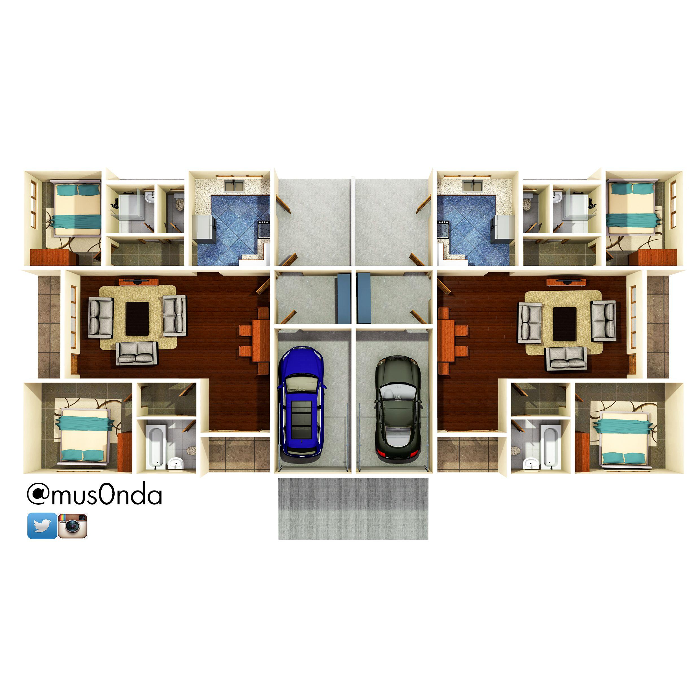 Semi Detached House 2 Bedroom House Plans Building Design