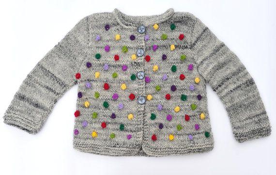 Girls sweater / jacket knitted cardigan grey by SweetMeadowSweet