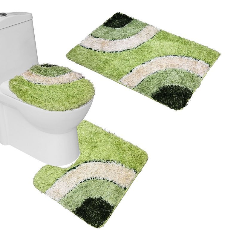 Amagical Microfiber Rug 3 Piece Bath Mat Set Pedestal Lid Toilet