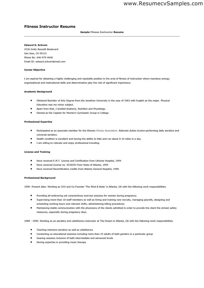 aerobics instructor resume httpwwwresumecareerinfoaerobics fitness instructor fitness instructor resume sample - Fitness Instructor Resume Sample