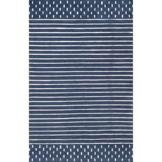 Nuloom Coastal Solid Stripes Wool Area Rug 2 6 X 8 Runner Navy Blue Wool Area Rugs Area Rugs Rugs