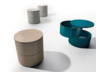 Round Wooden Coffee Table With Storage Space Anello Caccaro