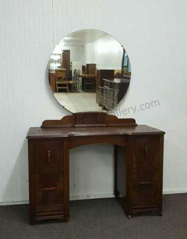 Merveilleux Antique Ballman Cummings Walnut Vanity With Mirror