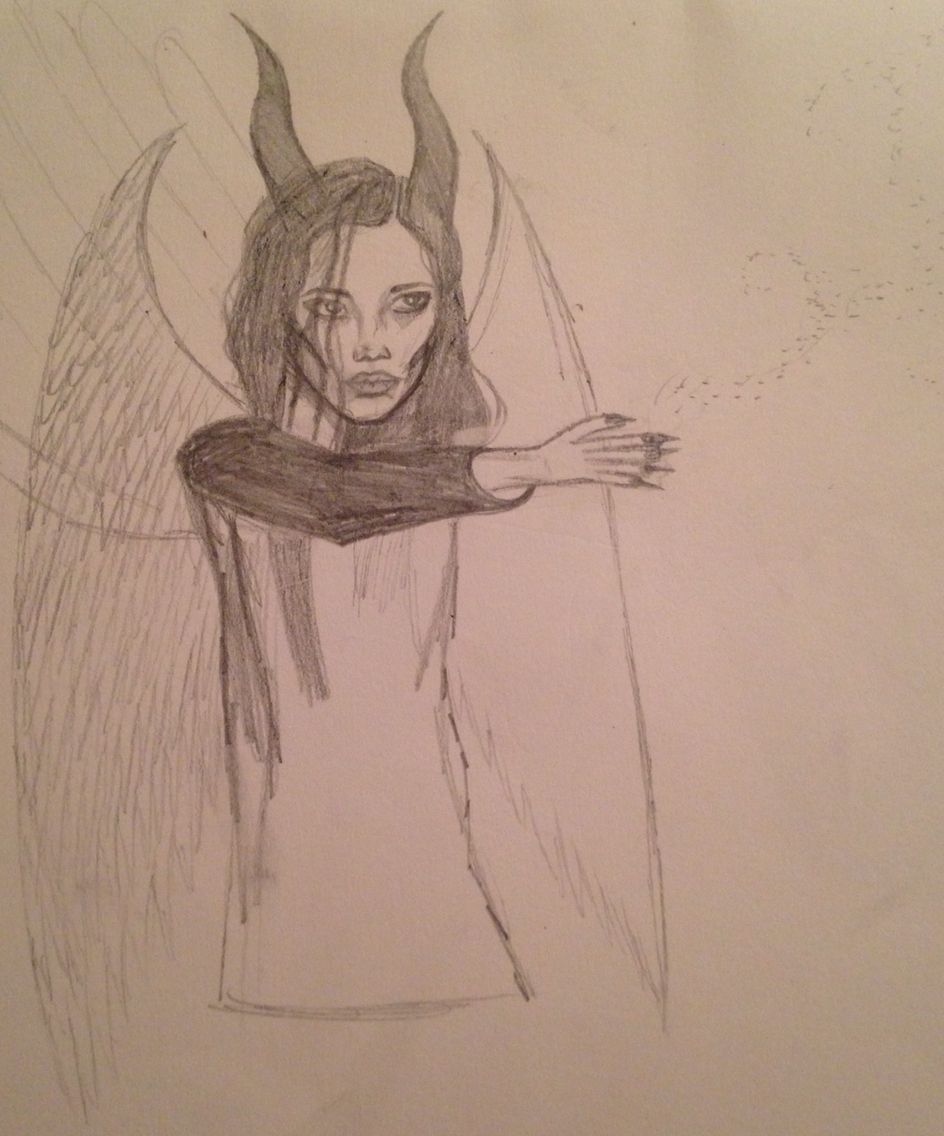 unfinished drawing sketch young maleficent