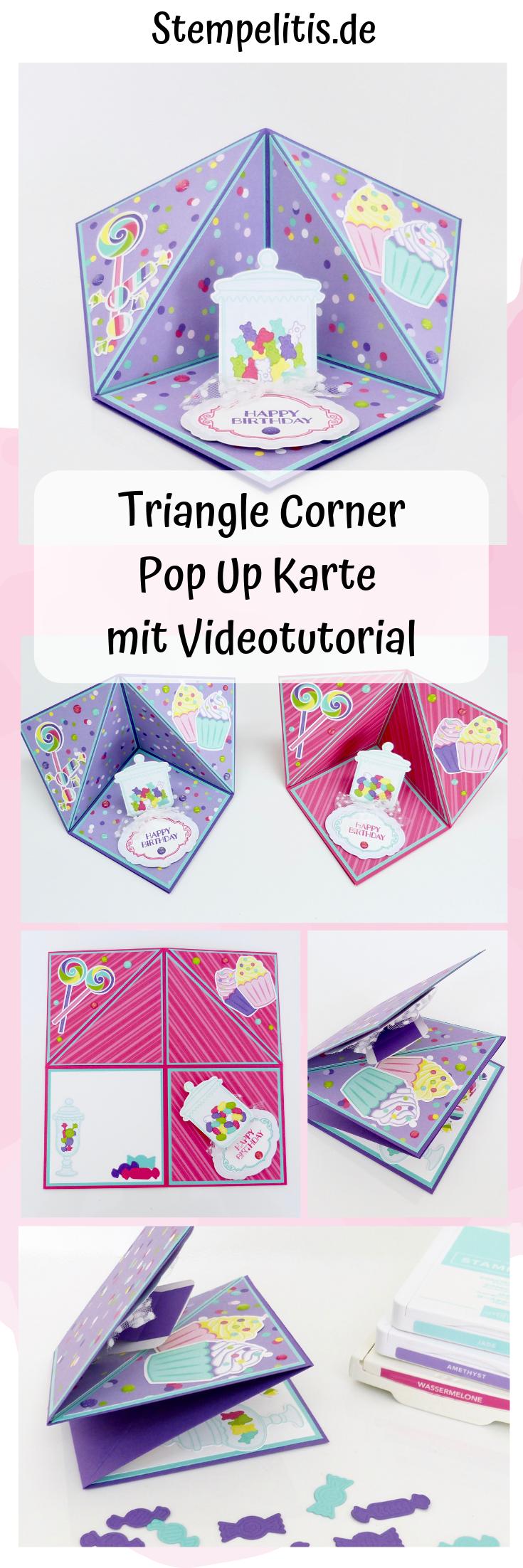 Triangle Corner Pop Up Card with Video Tutorial   Card corner ...