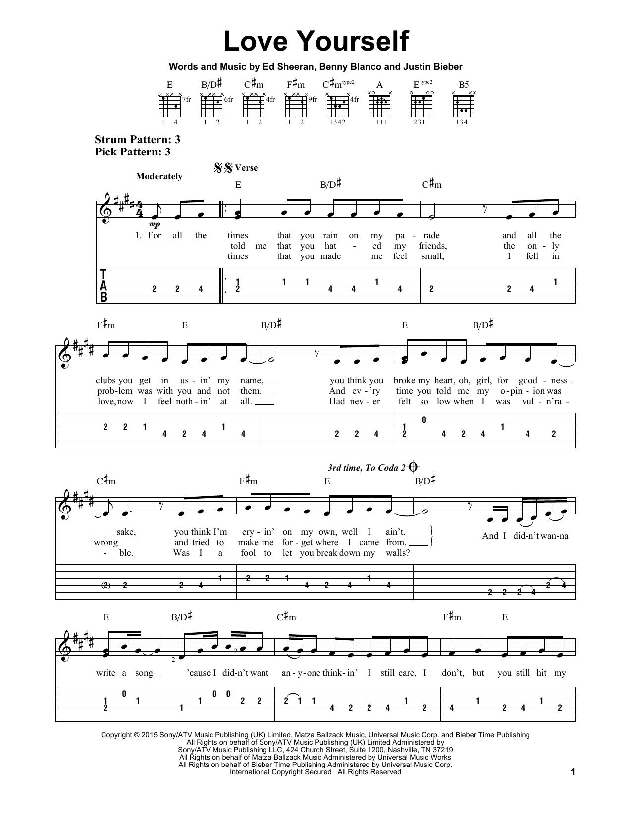 Love Yourself Chords : yourself, chords, Yourself, Guitar,, Guitar, Tabs,, Songs