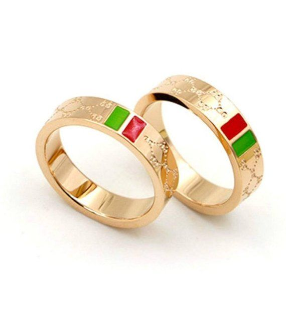 3416893d8f3ec0 Fashion Luxury Shine Celebrity Ring Classic Red and Green Bar Titanium  Steel Ring Mens Ring Woman's