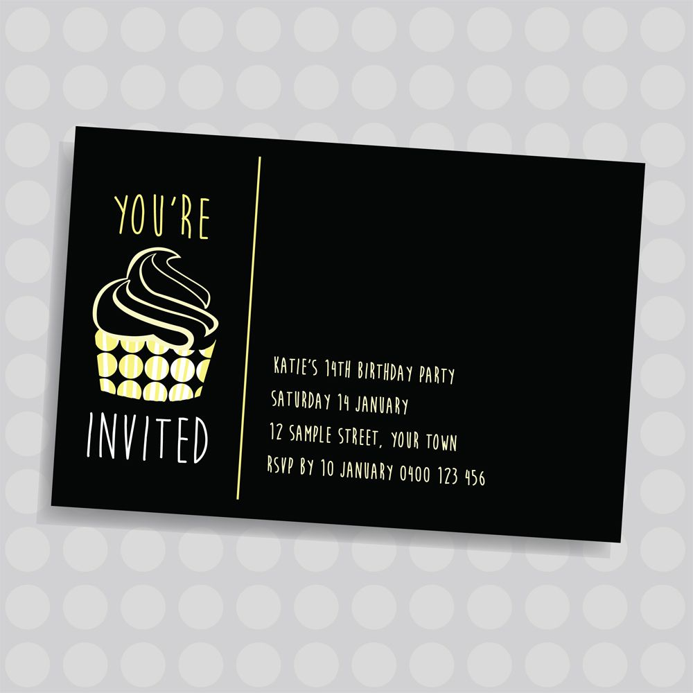 Dotty Cupcake With Frosting Kids Personalised Birthday Invitation - Kid business card template