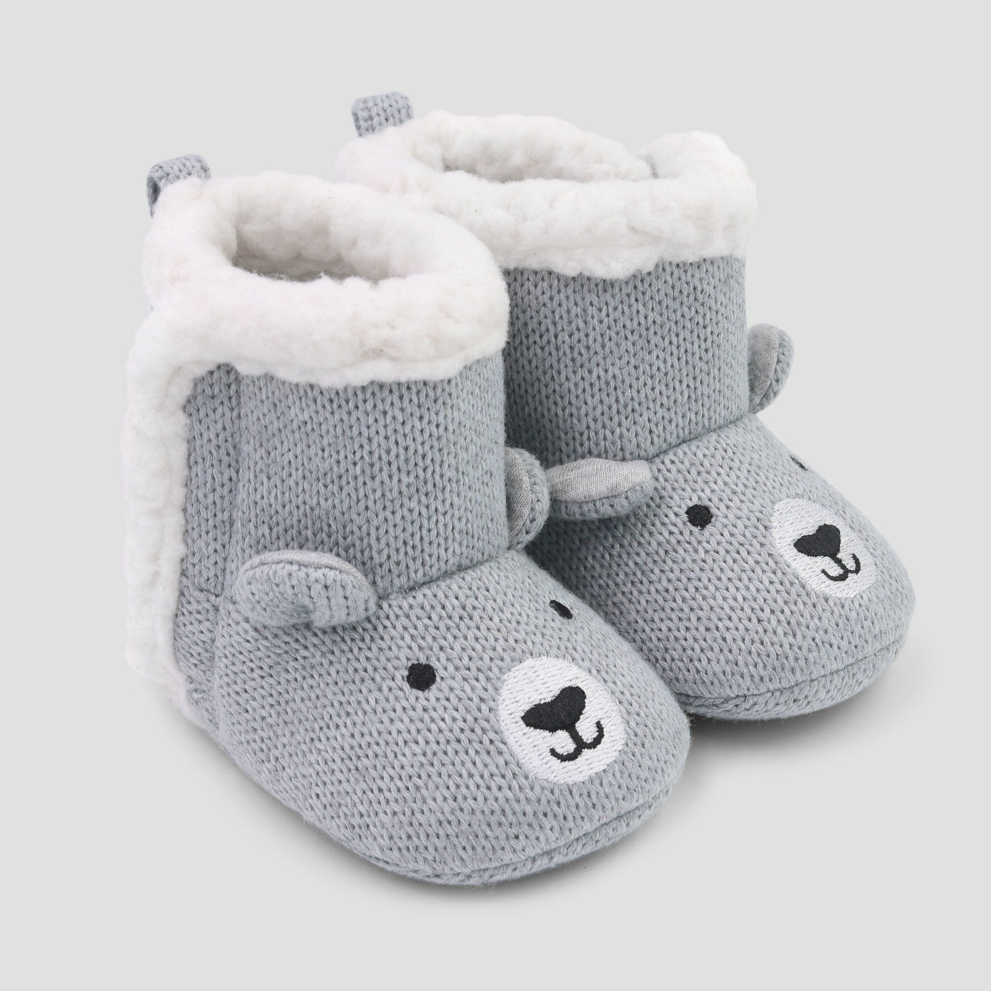 f2561ea61f82 Baby s Knit Bear Slipper - Just One You made by carter s Gray 0-3M ...