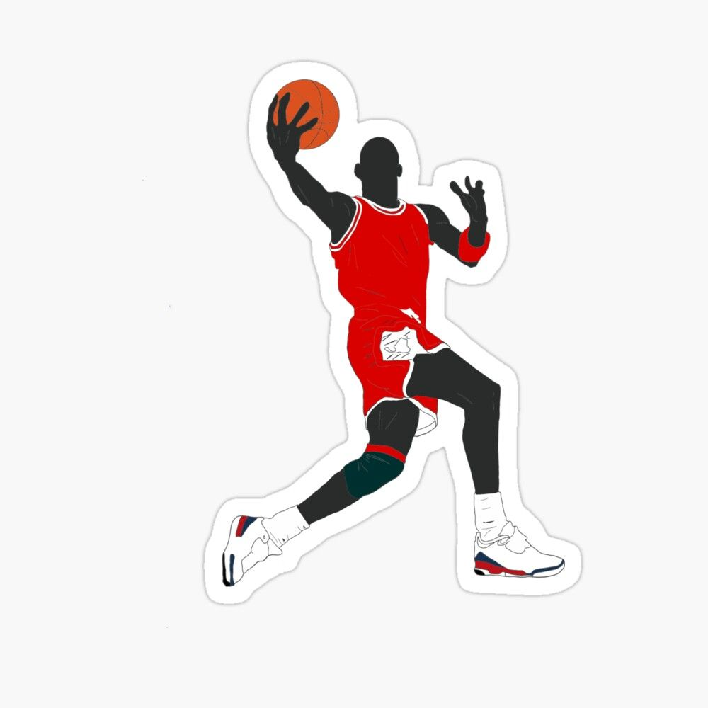 Michael Jordan Basketball No 4 Sticker By Aajaj Michael Jordan Basketball Michael Jordan Jordan Basketball [ 1000 x 1000 Pixel ]