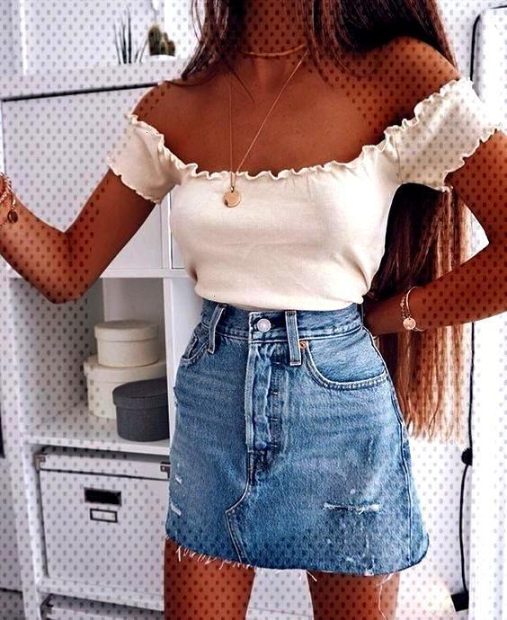 Mini-jupe en jean bicolore délavé clair