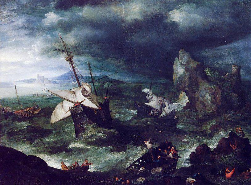 the storm at sea with shipwreck jan bruegel the elder