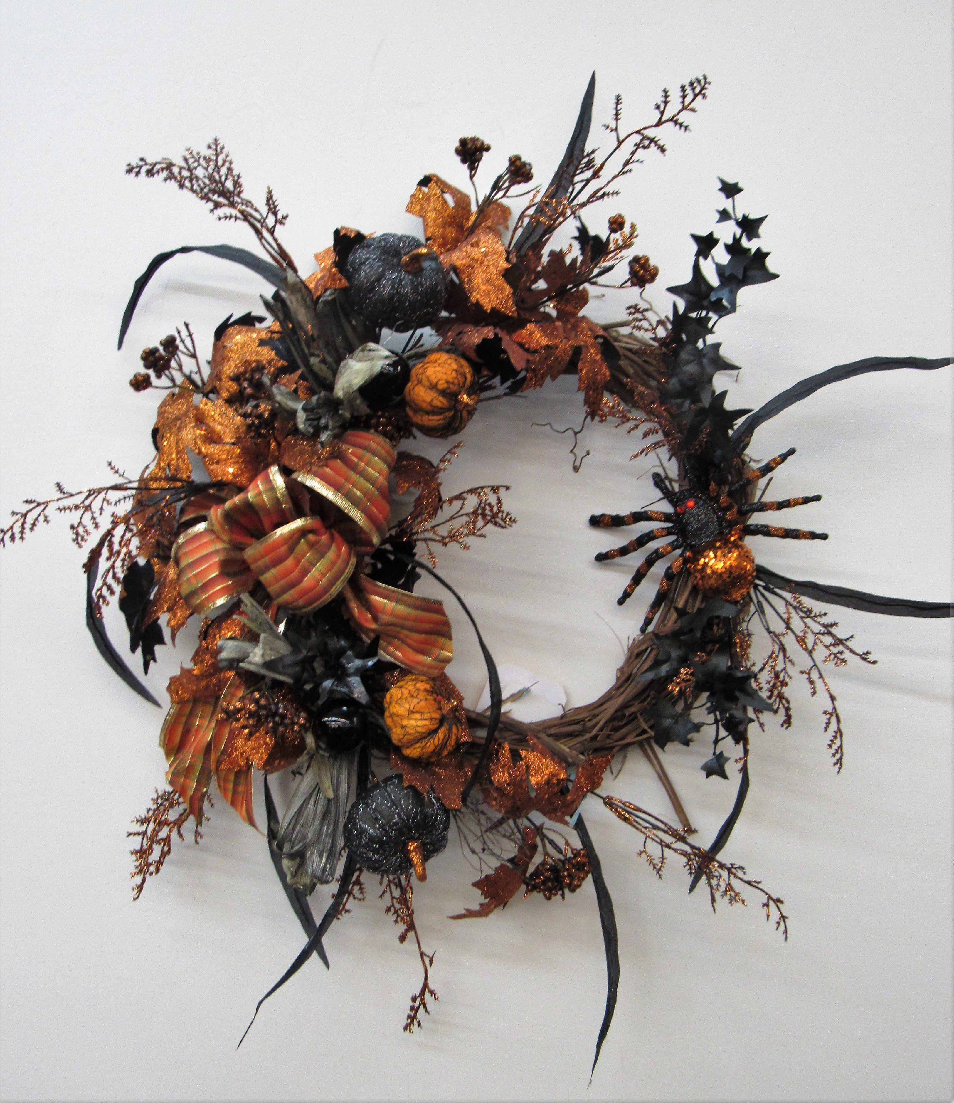 Orange And Black Silk Floral Halloween Crescent Wreath With Spider Pumpkins Hal25 Scary Halloween Wreath Halloween Door Wreaths Halloween Wreath