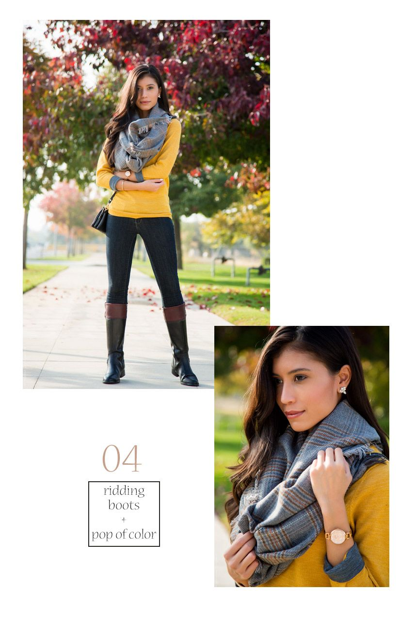 d20717abaf Scarf Outfit  4 For a nice fall outfit pair a mustard yellow sweater with  plaid scarf and riding boots - Visit stylishlyme.com to see 27 Stylish Ways  to ...