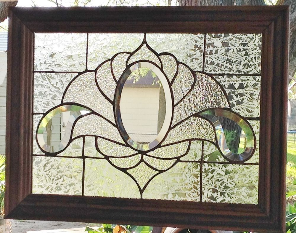Stained Glass Window Art Panel Clearly Bevels Handcrafted Tiffany Style Framed | eBay