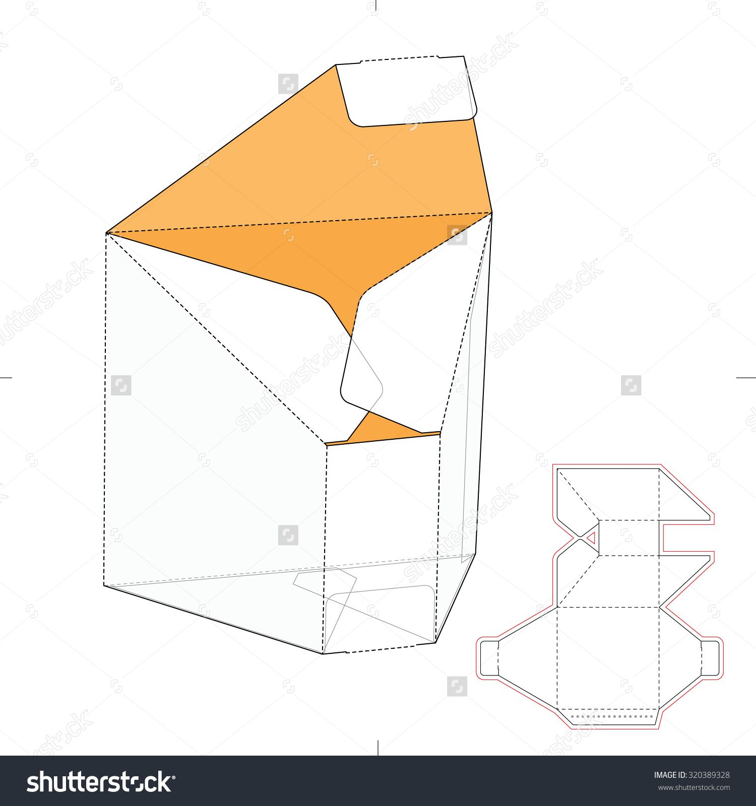 Tapered Prism Box With Die Cut Template Stock Vector Illustration 320389328 : Shutterstock