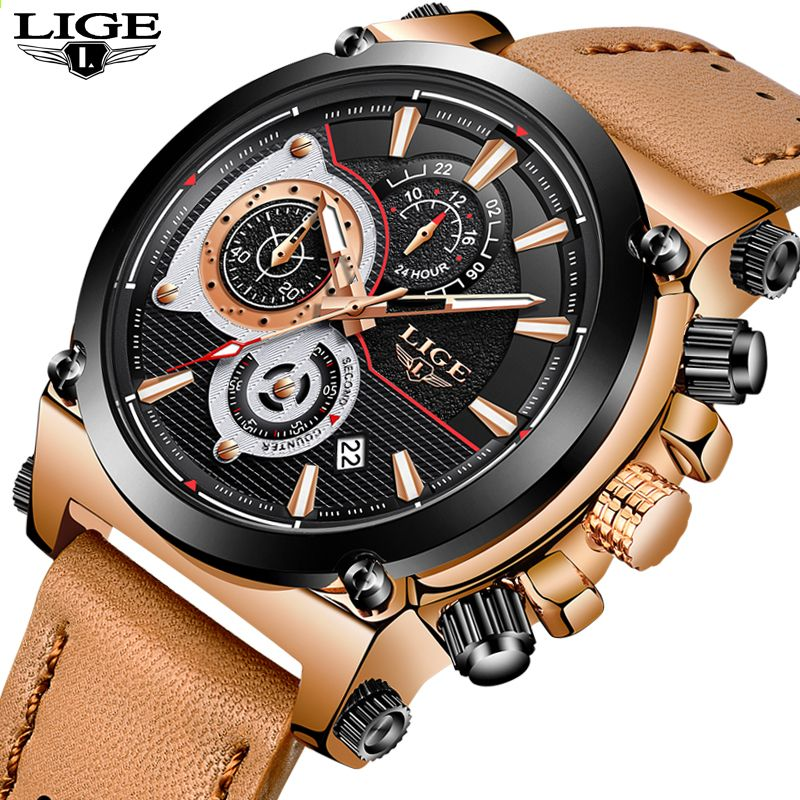 e70bc8a4b15 2018LIGE Mens Relógios Top Marca de Luxo de Quartzo Relógio De Ouro Dos  Homens de Couro