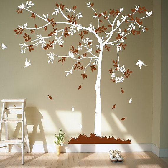 kids Wall Decals tree decals baby nursery wall stickers wall decor wall art Tree with birds via Etsy