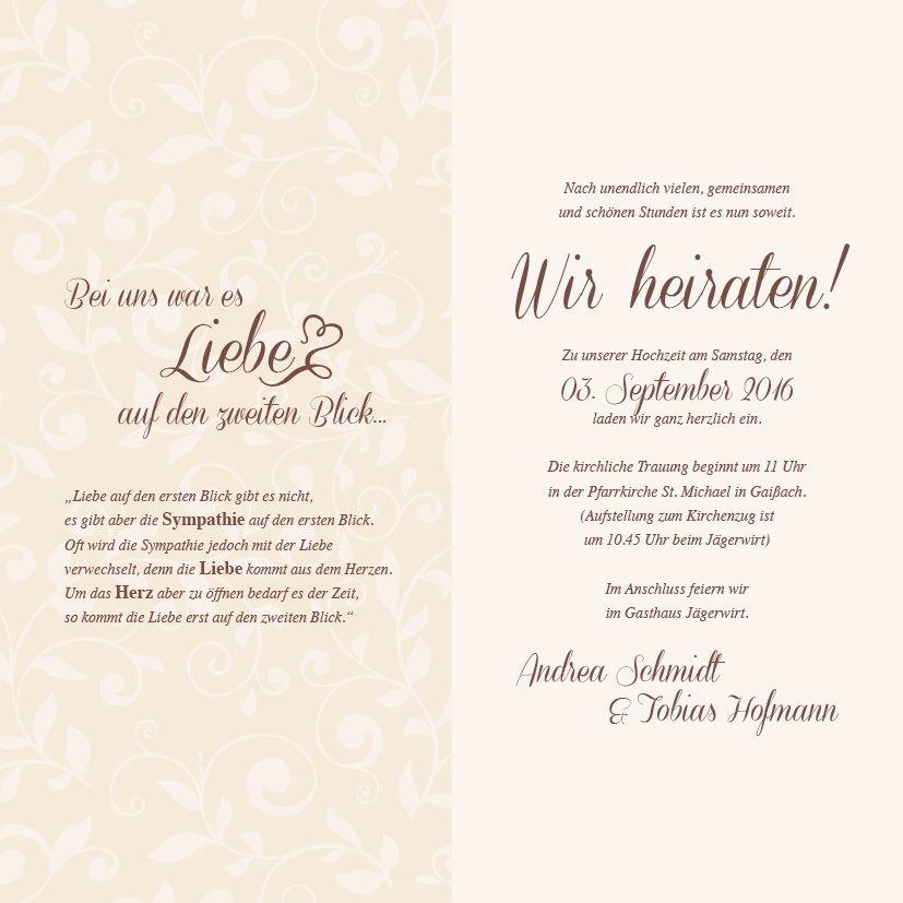 Ansicht seite 2 und 3 das hochformat und der verspielte - Hochzeitseinladung text modern ...