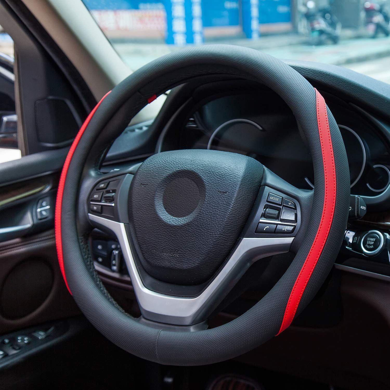 Achiou universal 15 inch car steering wheel cover fiber