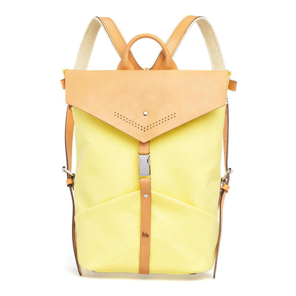 Pastel Yello Ezra Textile and Leather Backpack