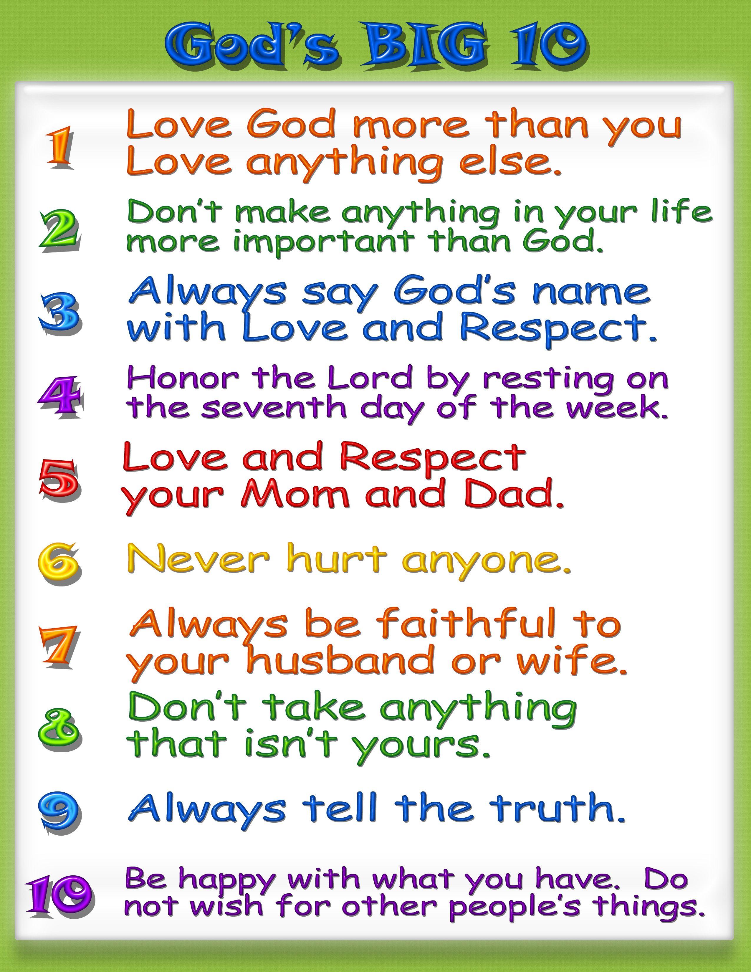 Kid Friendly Ten Commandments