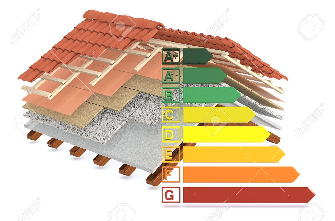 Cross Section Of A House Roof All The Layers Are Visible Thermal Insulation Energy Efficiency Scale C Roof Insulation Roofing Materials Types Of Roof Vents