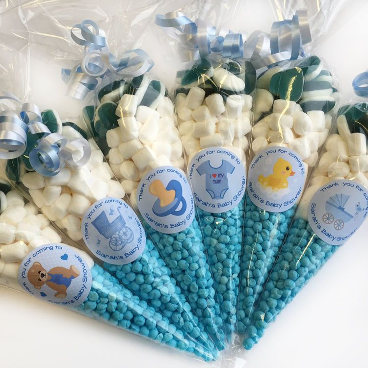 Personalised Blue Baby Shower favours filled sweet cones ...