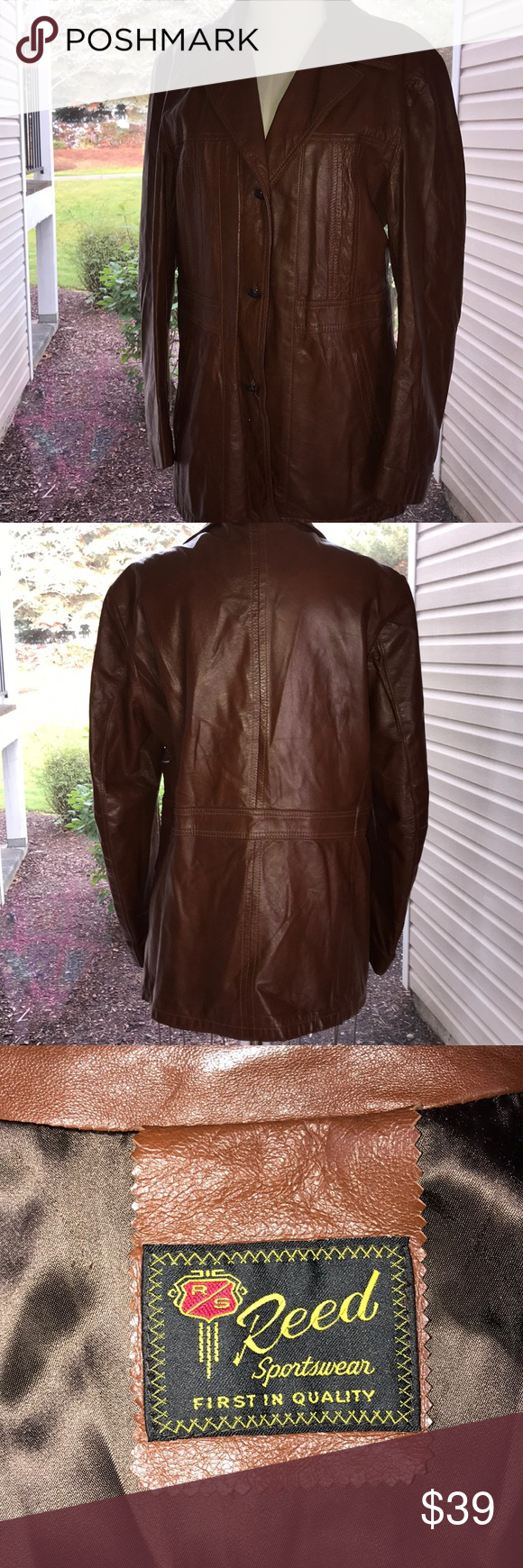 Vintage Reed Soft Leather Lined Jacket Sz M L Vintage Reed Soft Leather Button Up Lined Jacket Sz M L It Is Not To See The Line Jackets Jackets Soft Leather [ 1740 x 580 Pixel ]