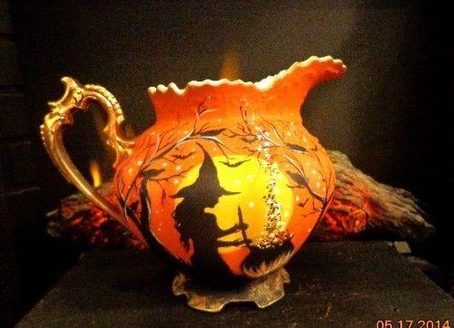 vintage lefton victorian heritage 796 halloween witches water pitcher - Halloween Pitchers