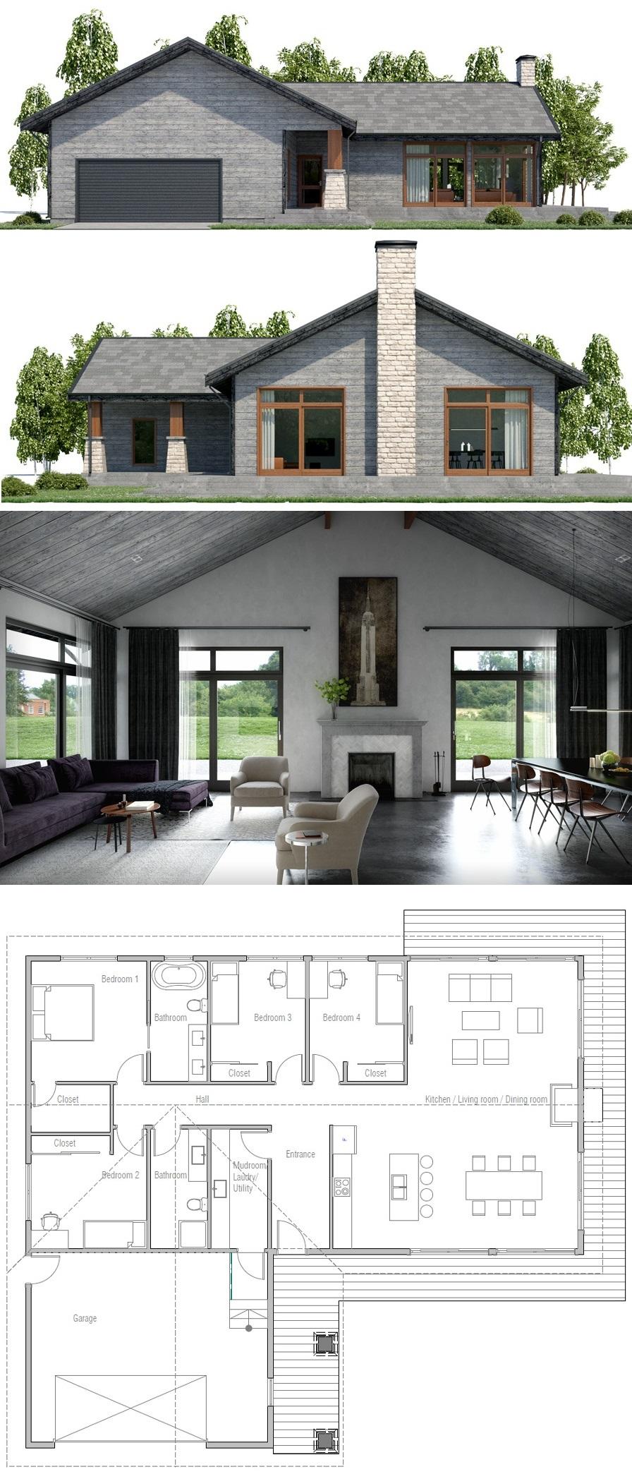 Farmhouse Ch448 House Blueprints House Plans Modern Farmhouse Plans