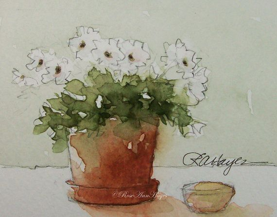 White Flowers Flower Pot Miniature Watercolor Painting Original