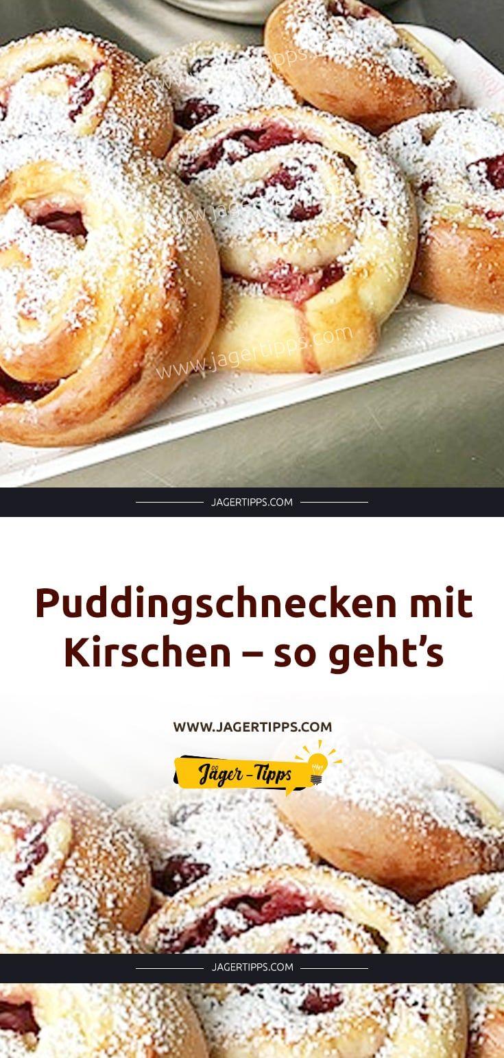 Puddingschnecken mit Kirschen – so geht's