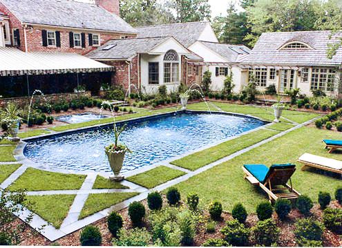 Classic pool design that integrates with the outdoor landscape and ...