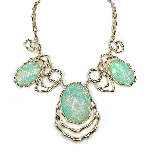 GORGEOUS ELEGANT PLATE MINT COLOR OPAL BEADED TEXTURE DESIGN STATEMENT NECKLACE by shopluvmeTake for me to see GORGEOUS E