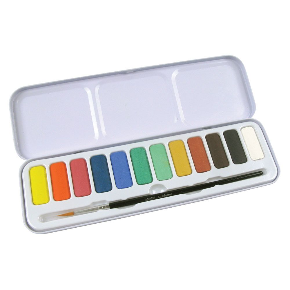 Derwent Academy Watercolour Paint Pan Set Of 12 Watercolor