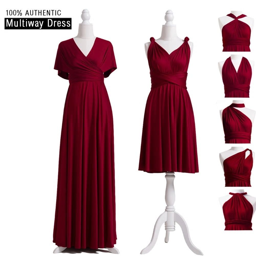 851f9af7704e Burgundy Bridesmaid Dresses Multiway Dress Infinity Long Dress Burgundy  Convertible Wrap Dress With Sleeves Style